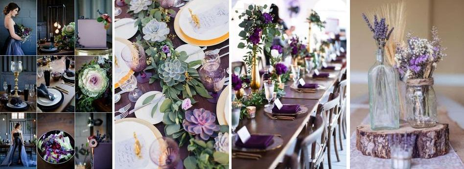 esküvői dekor bíbor színű