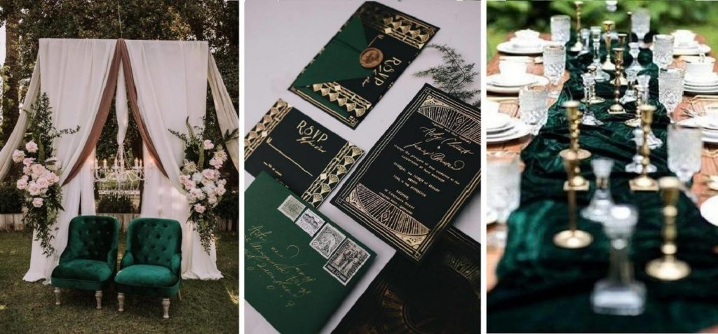 földszínű esküvői dekor