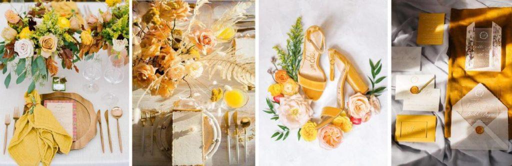 sárga esküvői díszítés